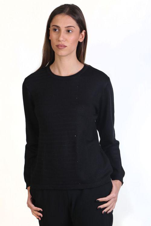 Μπλούζα με λαιμόκοψη, κλασική εφαρμογή-  μαύρο 8775M