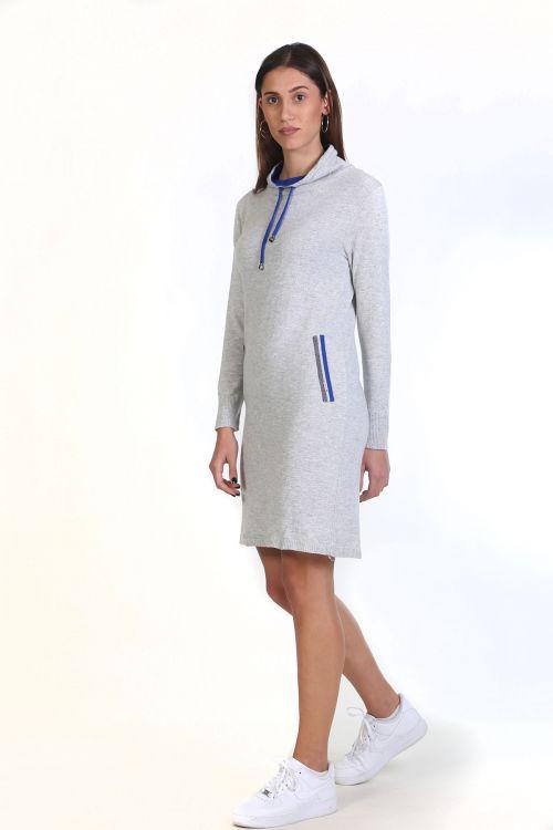 Φόρεμα με κορδόνι στο λαιμό- Γκρι ανοιχτό 8785F