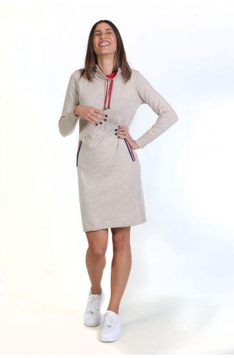 Φόρεμα με κορδόνι στο λαιμό- μπεζ  8799F