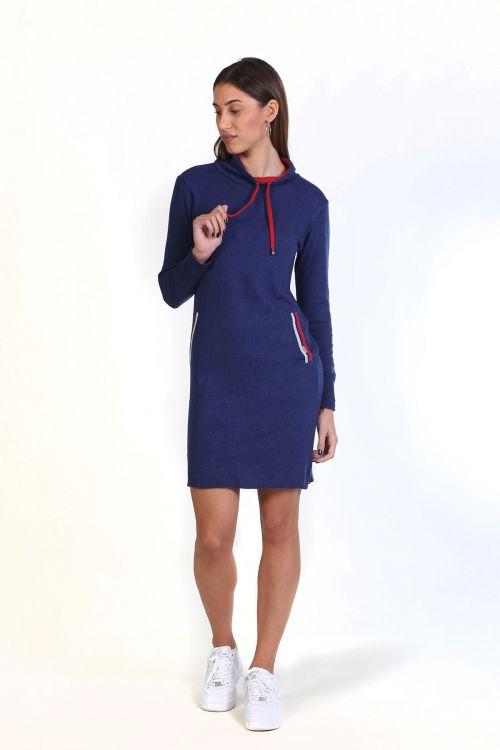 Φόρεμα με κορδόνι στο λαιμό- Μπλε 8806F