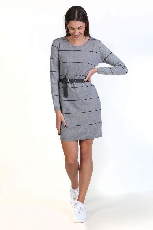 Φόρεμα με ρίγες- Γκρι ανοιχτό 8809F