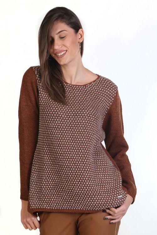 Μπλούζα με λαιμόκοψη, μάλλινη - Καφέ_κανελί  8834M
