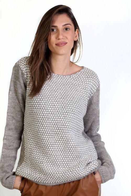 Μπλούζα με λαιμόκοψη, μάλλινη - Μπεζ  9301M