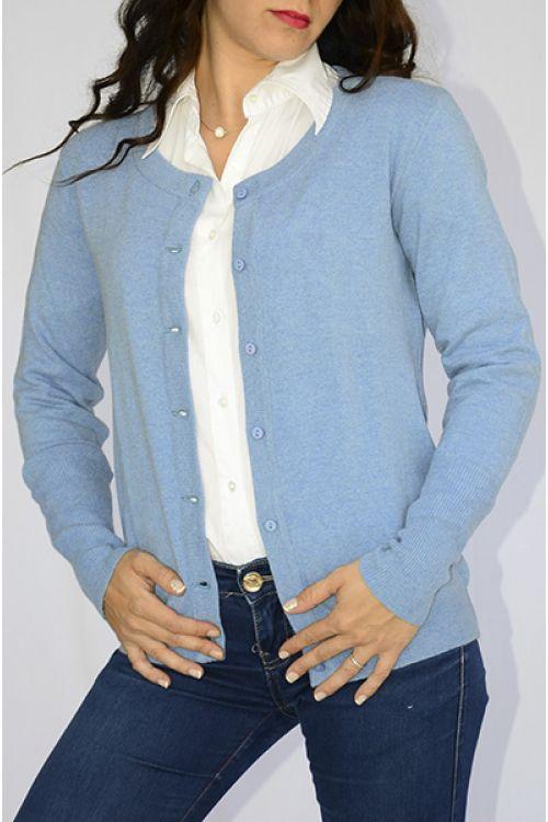 Ζακέτα  με λαιμόκοψη  -χρώμα γαλάζιο 8906Ζ
