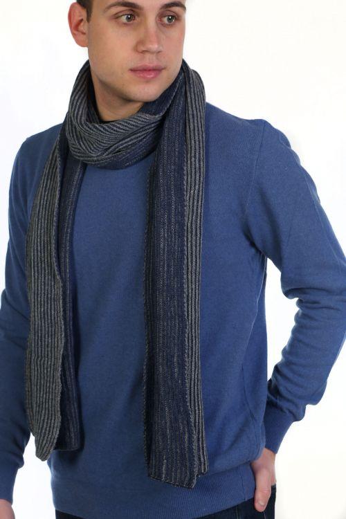 Κασκόλ αντρικό με διχρωμία - μπλε με γκρι 9003A
