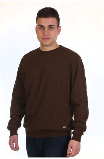 Μπλούζα αντρική με λαιμόκοψη - καφέ 9022M