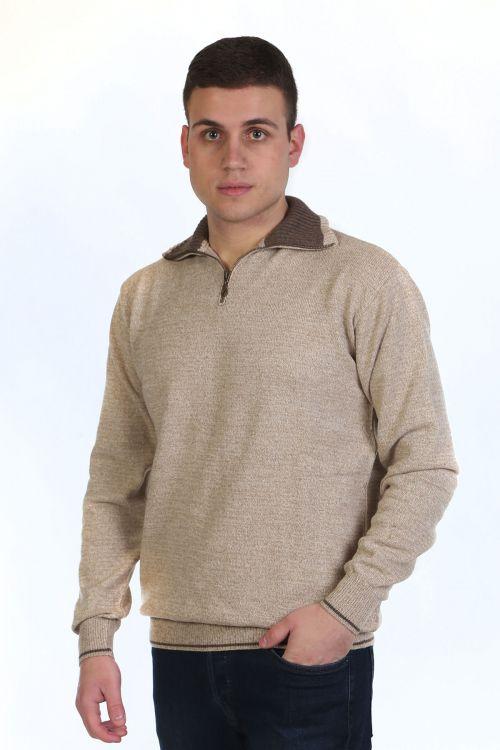 Μπλούζα αντρική  με γιακά και φερμουάρ - μπεζ 9823A