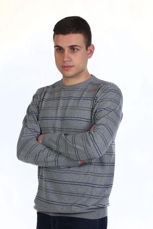 Μπλούζα αντρική με ρίγες και λαιμόκοψη - γκρι 9045A