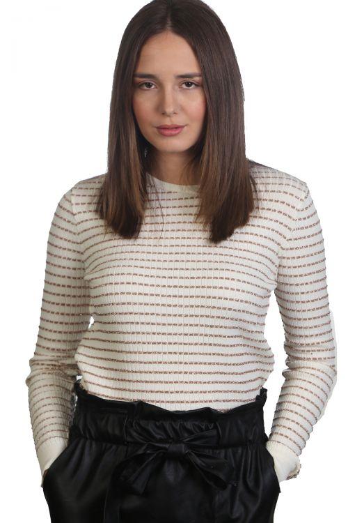 Μπλούζα με λαιμόκοψη και ρίγες-Εκρού 9105