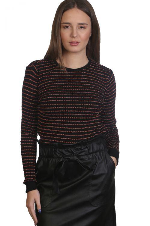 Μπλούζα με λαιμόκοψη και ρίγες-Μαύρο 9115