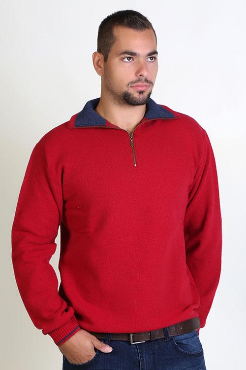 Μπλούζα αντρική με γιακά και φερμουάρ - Κόκκινο  9177A