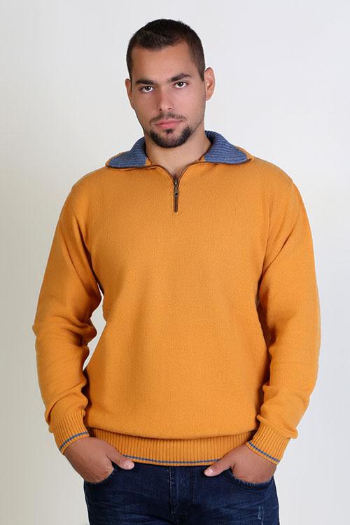 Μπλούζα αντρική  με γιακά και φερμουάρ - Πορτοκαλί  9244A