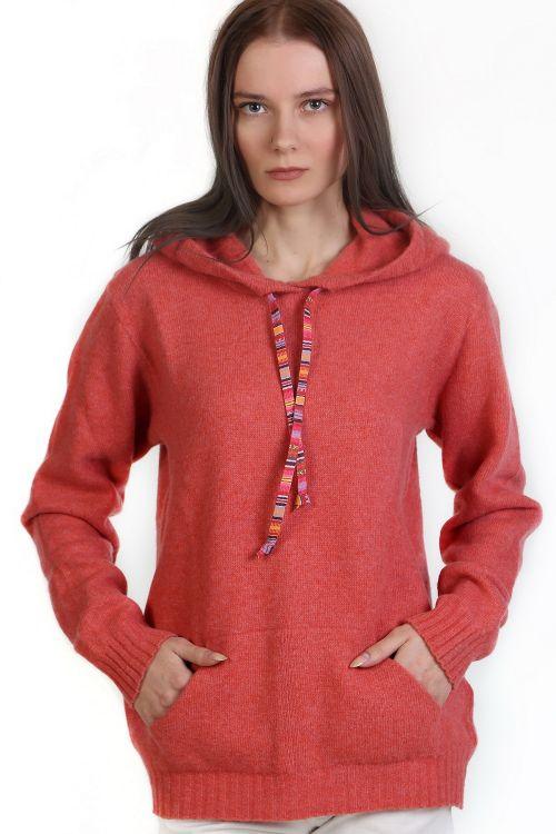 Μπλούζα με κουκούλα -χρώμα κοραλλί 9331M