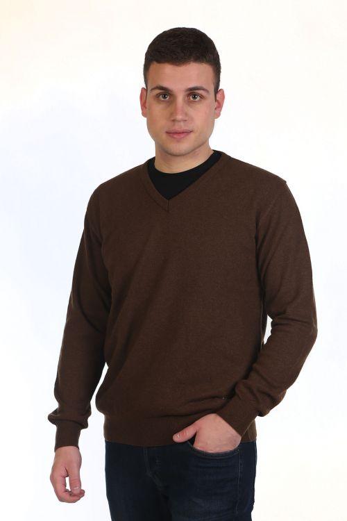 Μπλούζα αντρική με VE - καφέ 9986A
