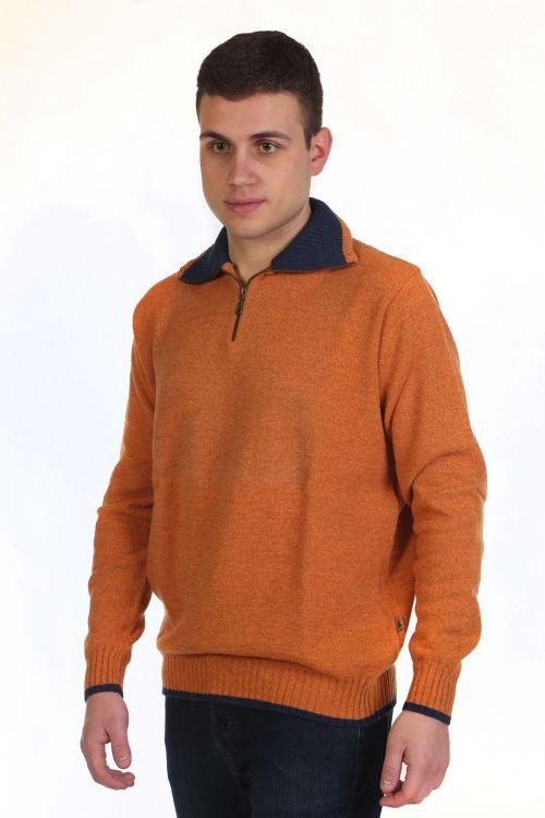 Μπλούζα αντρική  με γιακά και φερμουάρ -  9028A