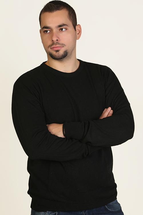 Μπλούζα αντρική  βαμβακερή με λαιμόκοψη - Μαύρο 9877M